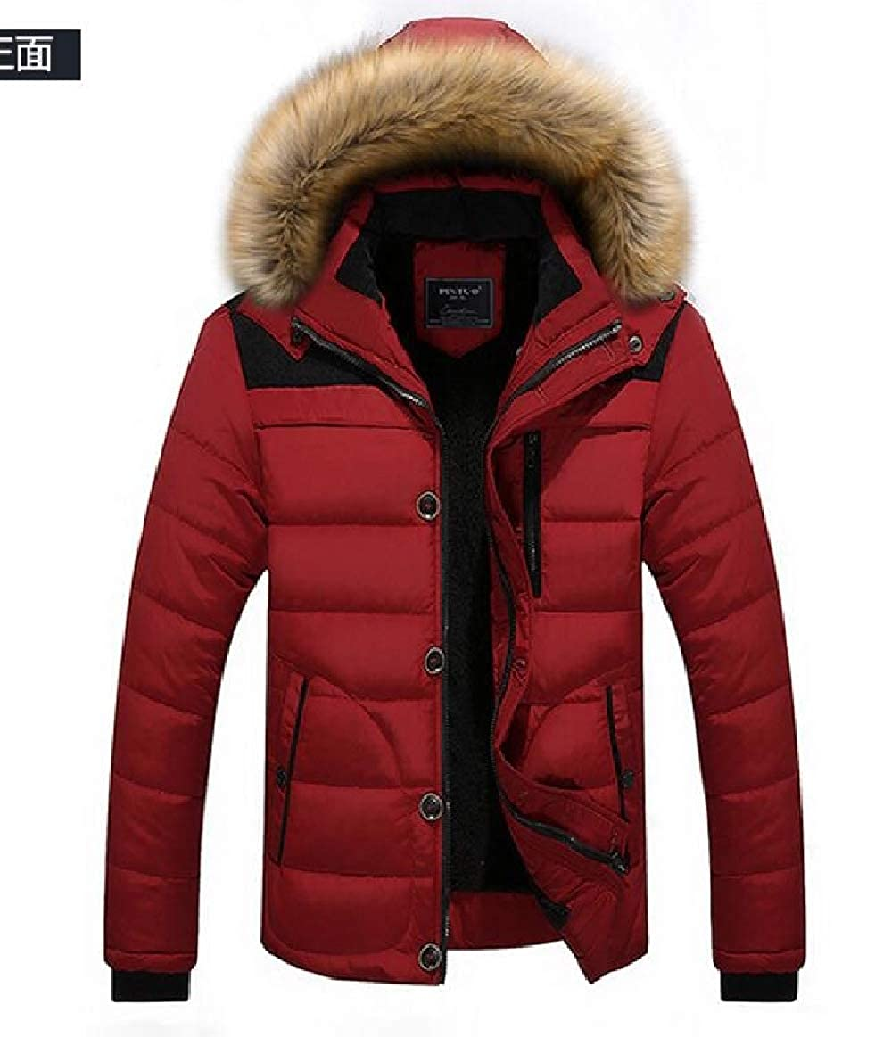pujingge Mens Hoodie Single-Breasted Quilted Jacket Parka Coat Outerwear