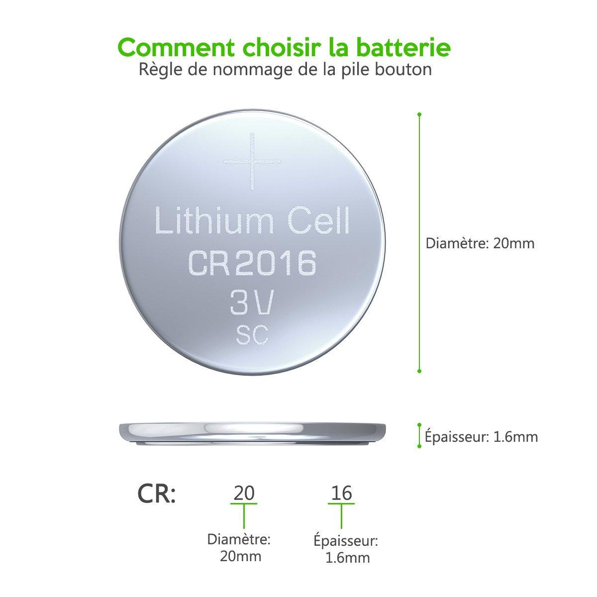 EBL CR2016 Piles Bouton Longue Durée de Conservation (CR2016*5)