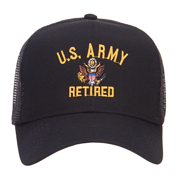 fc8f5449d721a E4hats US Army Retired Military Embroidered Mesh Cap - Black OSFM at ...