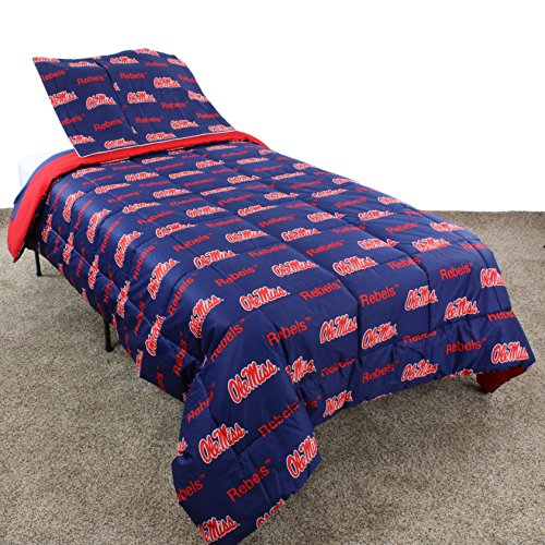 College Covers Mississippi Rebels Reversible Comforter Set, Queen by College Covers (Image #1)