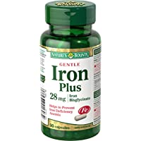 Nature's Bounty Gentle Iron Supplement, Helps Prevent Iron Deficiency Anemia, 28mg, 90 Capsules