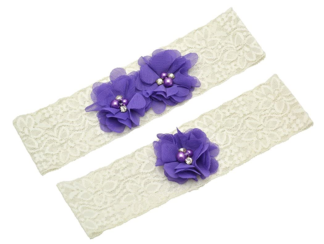 Wishprom Ivory Lace Wedding Garter Purple Chiffon Flower Vintage Toss Garter