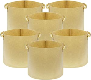 CASOLLY Fabric Grow Bags 6 Pack 7 Gallons Heavy Duty Thickened Nonwoven with Strap Handles Tan