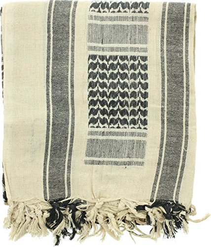 Shemagh Head Neck Scarf Tactical Military Arab Keffiyeh Desert Scarf Wrap 100% Cotton (Black&White) by AVSUPPLY (Image #2)