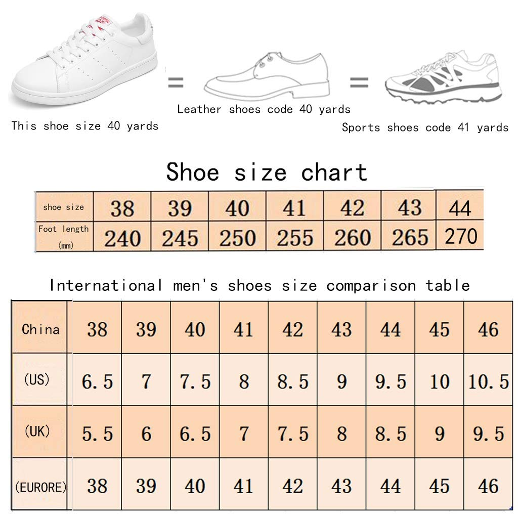 Size: Color : White-A, Size : 9M US Shoes Fashion Sneakers Mens 2019 Spring New Round Head Wild Lace Flat Bottom Trend Small White Mens Casual Color: