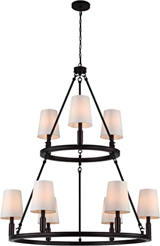 Feiss F2937 3 6ORB Lismore Fabric Shade Candle Chandelier Lighting, Bronze, 9-Light 37 Dia x 43 H 540watts