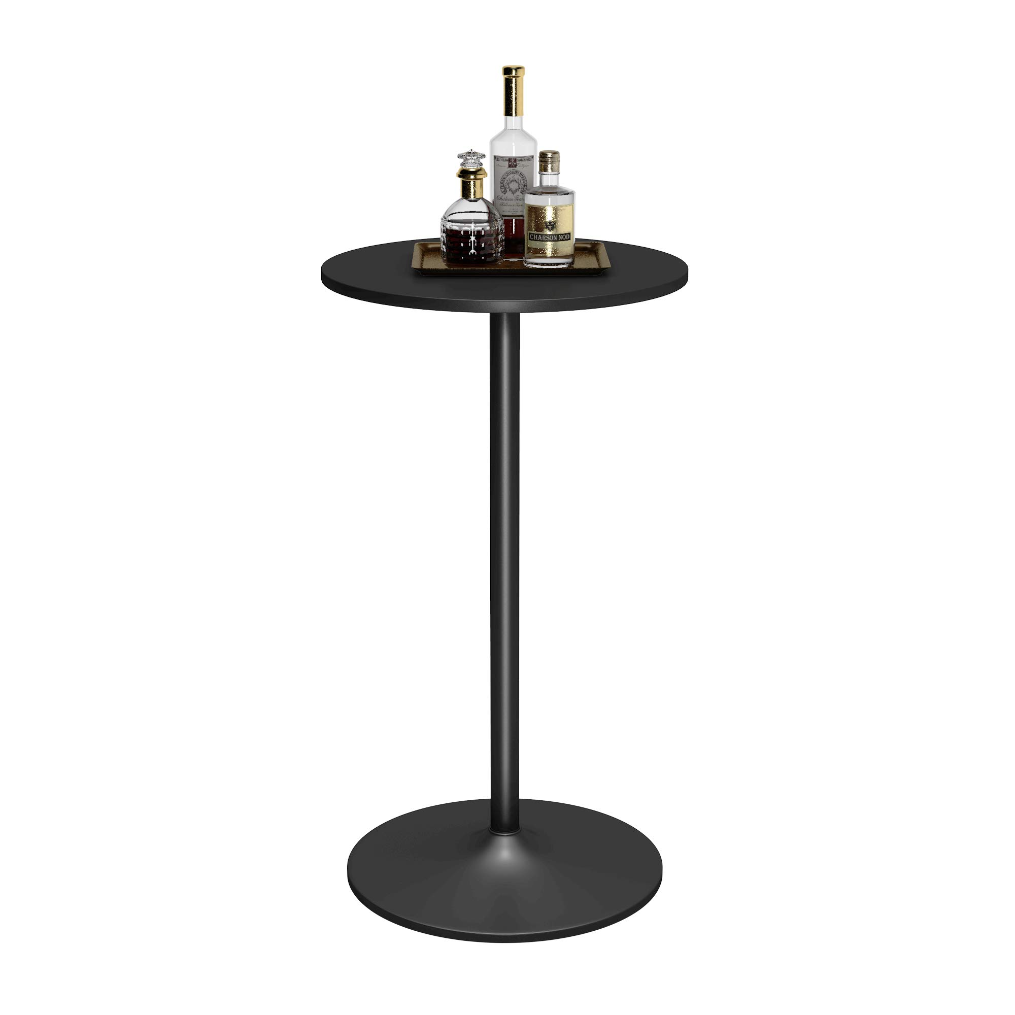 COSTWAY Round Pub Bar Table with MDF Top Meatal Base, Cocktail Table 42.5-Inch Height, Counter Height Bistro Table, for Pub Bistro Kitchen, Black by COSTWAY