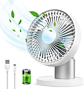 USB Table Fans Oscillation Desktop Fan 3 Speed 60° Oscillating Quiet Small Desk Fan Summer Cooling Fan for Bedroom Office Home Camping