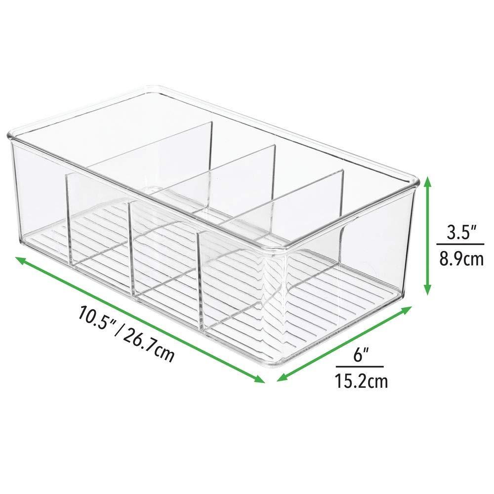 Ampio contenitore ufficio diviso in 4 scomparti Portaoggetti da scrivania in robusta plastica ufficio e bagno trasparente mDesign Set da 2 box in plastica ideali per cucina