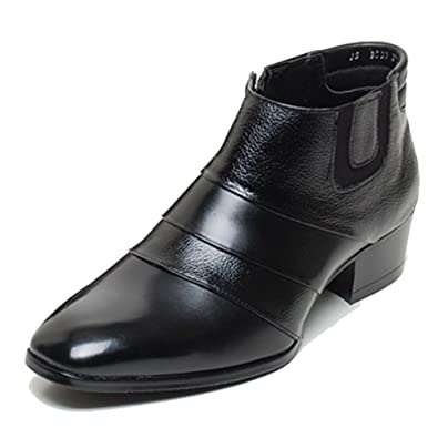 84e502a95a29 EpicStep Men s Black Genuine Leather Shoes Dress Formal Business Casual Two  Tone Ankle Boots 6 M