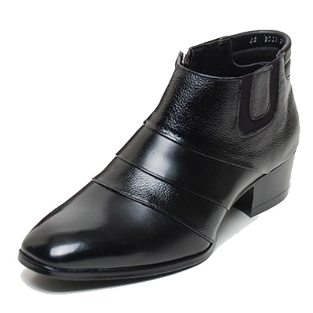 EpicStep Men's Black Genuine Leather Shoes Dress Formal Business Casual Two Tone Ankle Boots 10 M US
