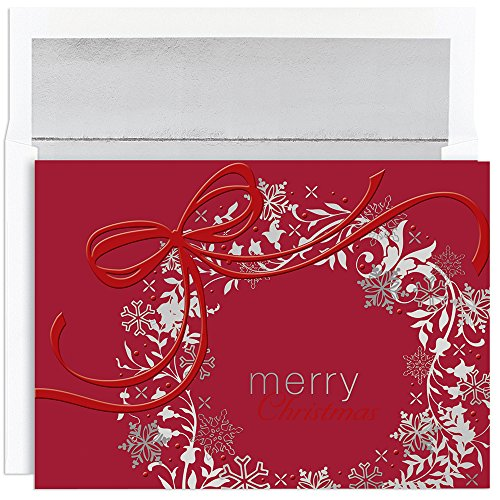 Great Papers! Holiday Greeting Card, Silver & Red Wreath, 16 Cards/16 Envelopes, 7.875