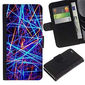 For Apple iPhone 4 / iPhone 4S,S-type® Bright Neon Colors Red Black - Dibujo PU billetera de cuero Funda Case Caso de la piel de la bolsa protectora