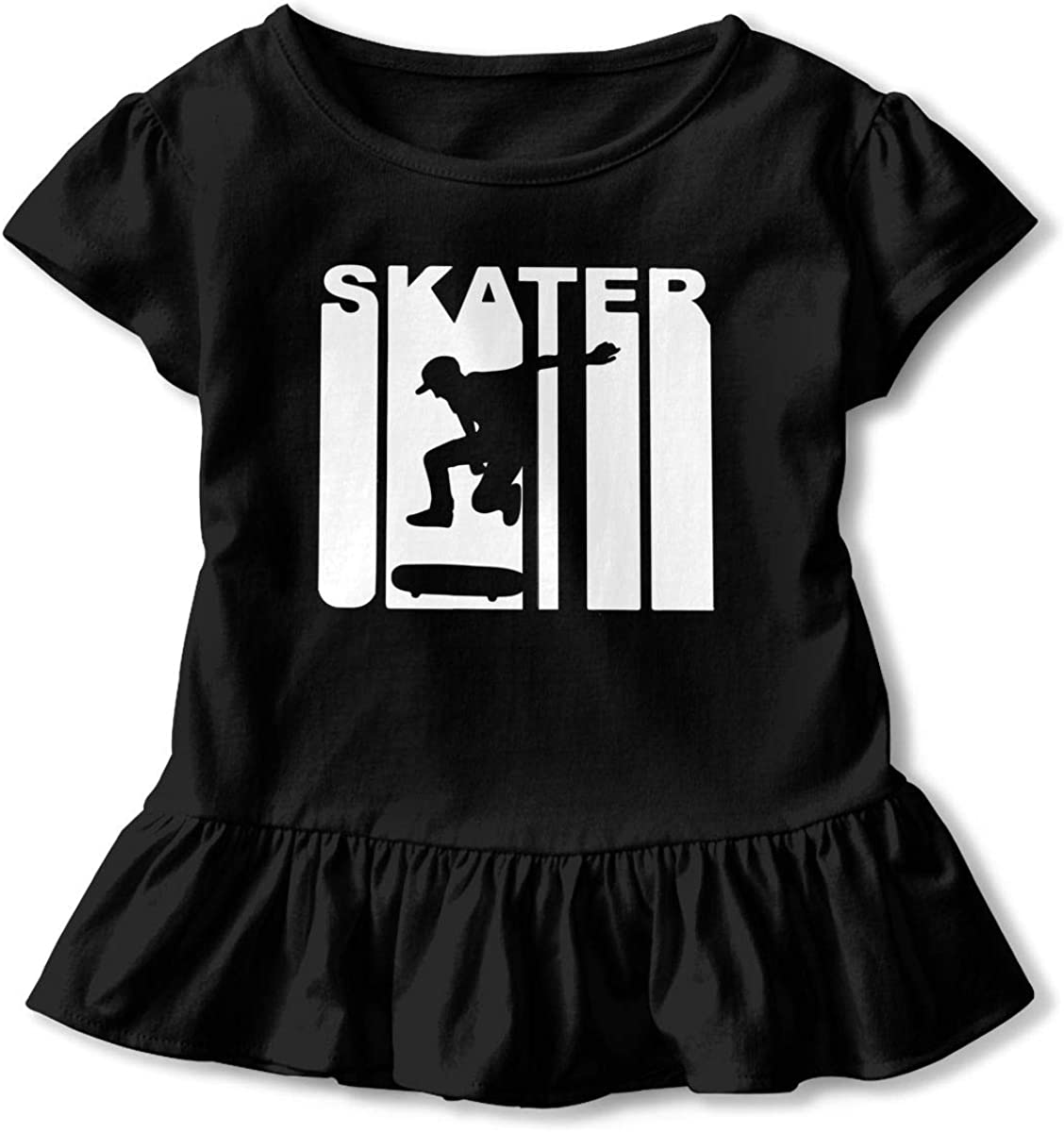 Retro Skater Skateboarding Toddler Girls T Shirt Kids Cotton Short Sleeve Ruffle Tee