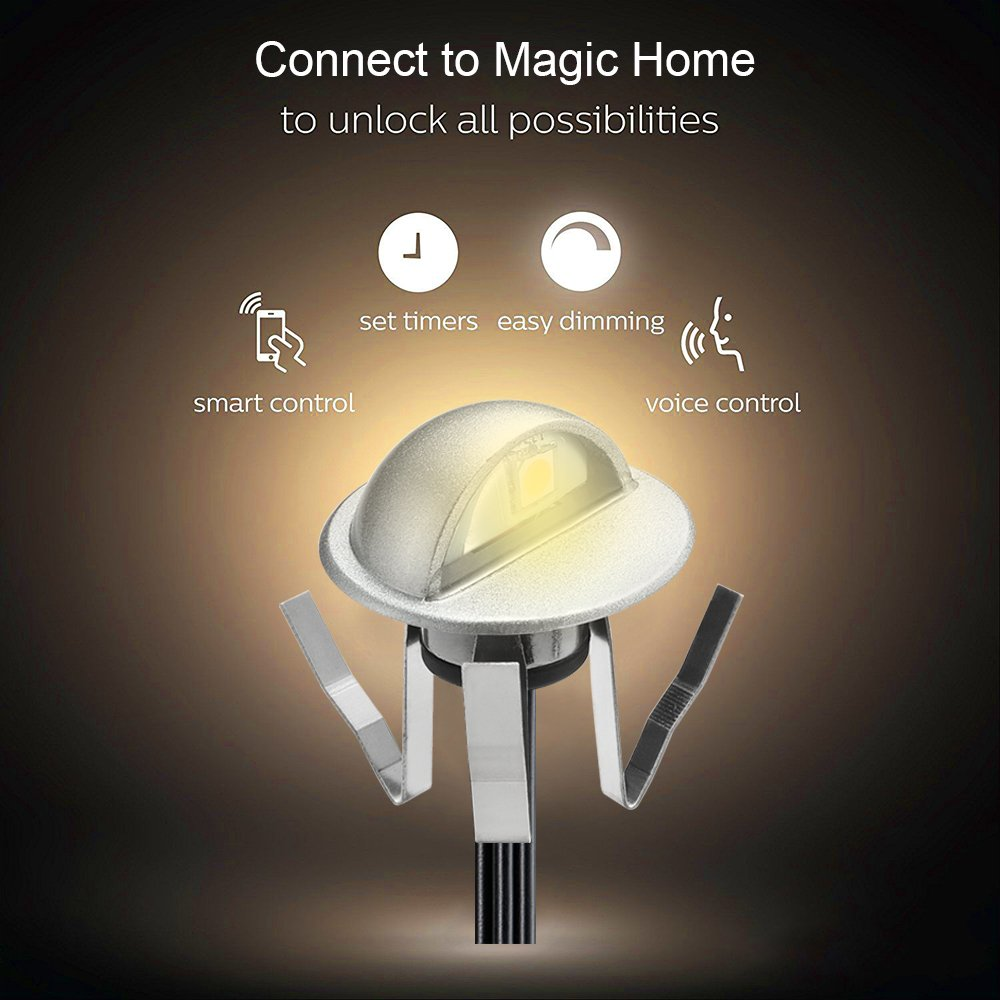 WiFi Deck Lights, FVTLED WiFi Controlled 20pcs Low Voltage LED Deck Lights Kit Φ1.38'' Outdoor Recessed Step Stair Warm White LED Lighting Work with Alexa Google Home, Silver by FVTLED (Image #8)