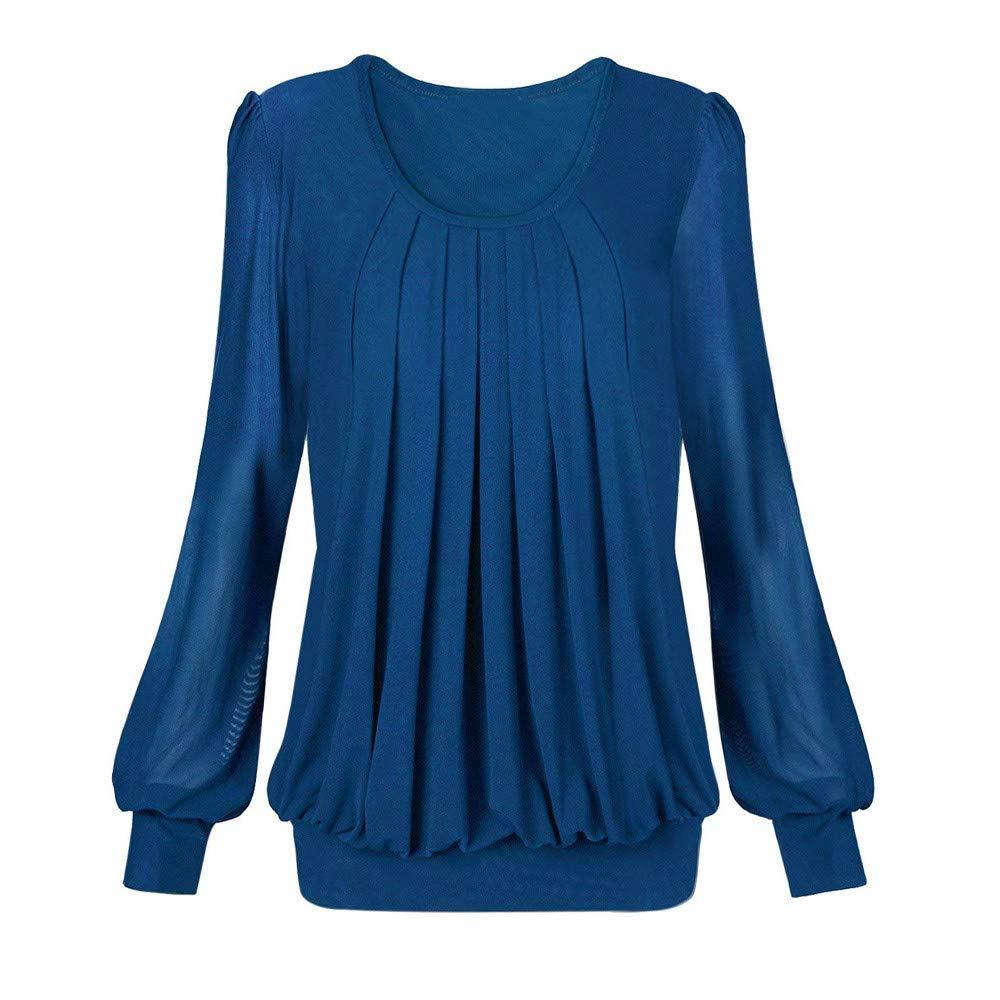 Luckycat Manga Larga para Mujer de Color sólido con Cuello en O Casual Tops Sueltos Blusa de túnica Camisa: Amazon.es: Ropa y accesorios