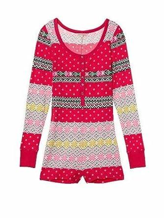 e520f954f8a9f NWT Victoria's Secret Fireside Fairisle Thermal Romper Onesie Pajamas S M  ...
