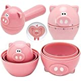 Joie Piggy Wiggy, Oink Oink, Cute Mechanical Kitchen Timer, Measuring Cups and Spoons Fun Bundle with Magnet