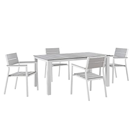 Prime Modway Maine 5 Piece Aluminum Dining Table And Chair Outdoor Patio Set In White Light Gray Download Free Architecture Designs Ogrambritishbridgeorg