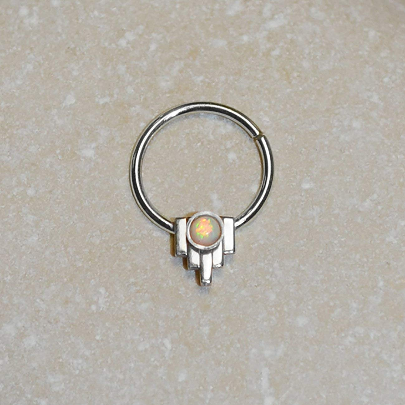 Silver NIPPLE RING Opal // Septum Jewelry 16g - Daith Earring - Opal Septum Ring - Body Piercing - Nipple Piercing 16 gauge