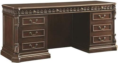 Tucker Double Pedestal Credenza Desk Rich Brown