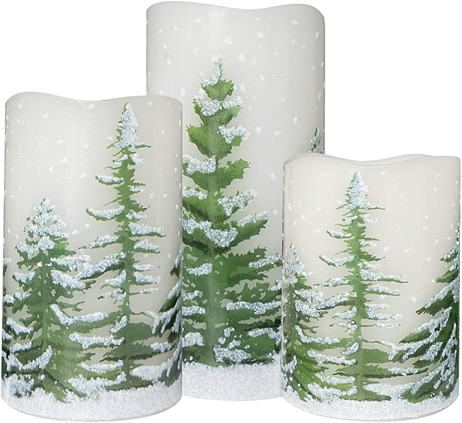 Wondise Flickering Flameless Candles with 6 Hour Timer, Battery Operated White LED Pillar Candles Real Wax Warm Light Set of 3 Christmas Tree Decal Candles Home Decoration Gifts(3 x 4-6 Inch)