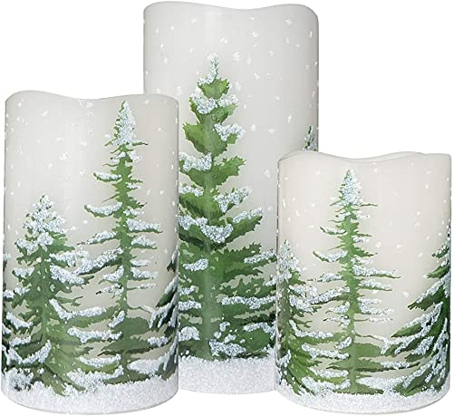 Wondise Flickering Flameless Candles with 6 Hour Timer, Battery Operated White LED Pillar Candles Real Wax Warm Light Set of 3 Christmas Tree Decal Candles Home Decoration Gifts 3 x 4-6 Inch