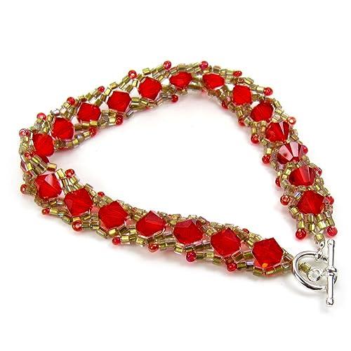 f691775f6475 Perlas de Cristal Rojo Brillante Oro Pulsera Tejida a mano japonés ...