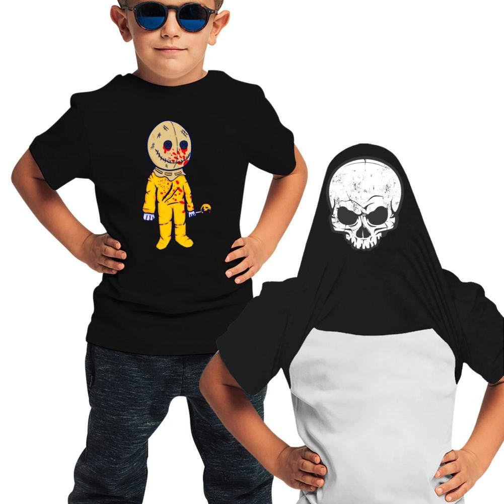 JOJOEChildrens Boys and Girls Halloween Trick R Treat Double Sided Printed Cotton T-Shirt