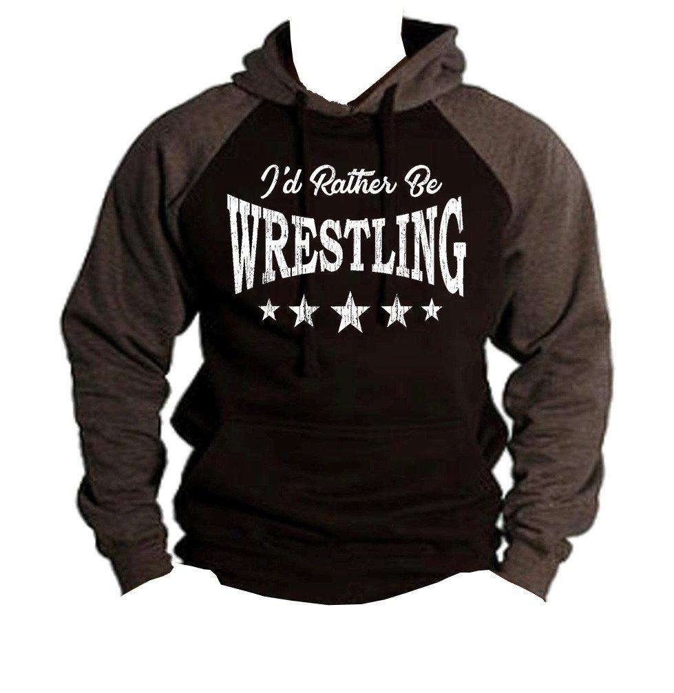 Interstate Apparel Men's I'd Rather Be Wrestling Black/Charcoal Raglan Baseball Hoodie Sweater X-Large Black
