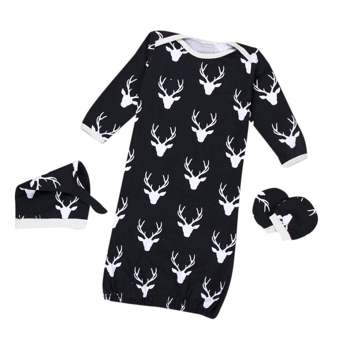 Kehen 3pcs Newborn Sleep Bag - Cotton Wearable Blanket + No Scratch Mittens + Hat