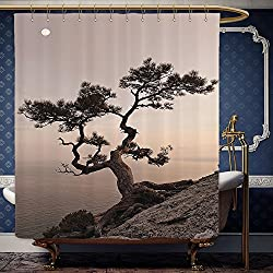 Wanranhome Custom-made shower curtain Farm HouseLonely Juniper Tree on Seaside Cliff Full Moon at Sunset Nature Theme Brown Gray For Bathroom Decoration 48 x 78 inches