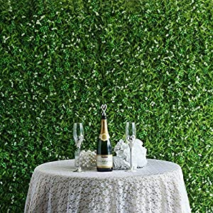 BalsaCircle 4 pcs Green Artificial Fern Leaves with White Mini Flowers UV Protected Wall Backdrop Panels Wedding Party Decorations Decorations Supplies 77