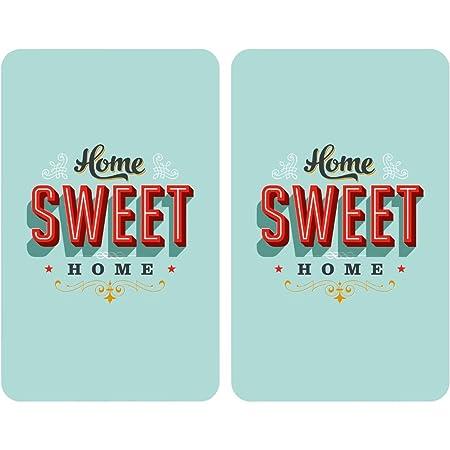 Wenko Juego de Cubre Vitro de Cocina Universal Home Sweet Home, Vidrio, Multicolor, 52x30x4.5 cm, 2 Unidades