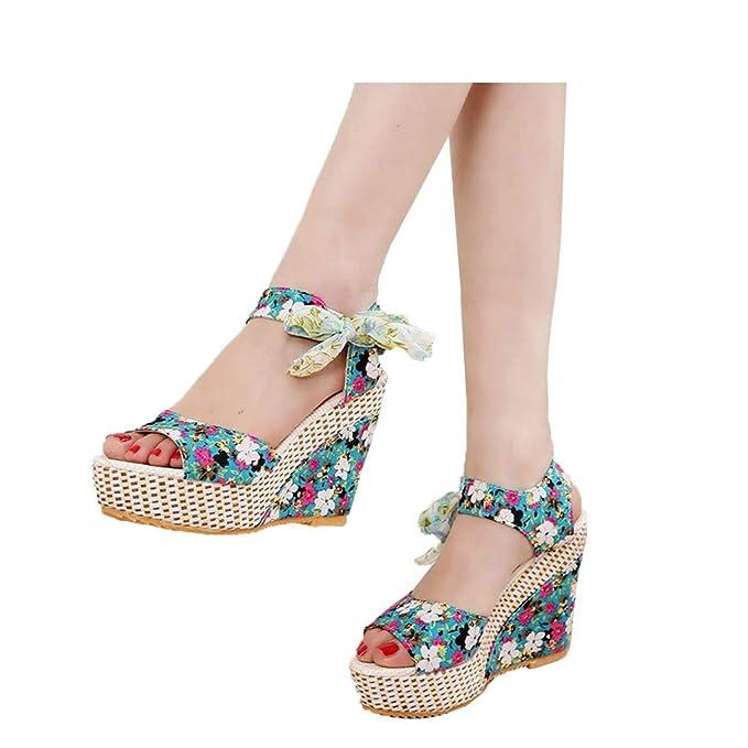5aa2b7a062b Veodhekai Women High Heel Wedge Sandals Weaving Floral Platform ...