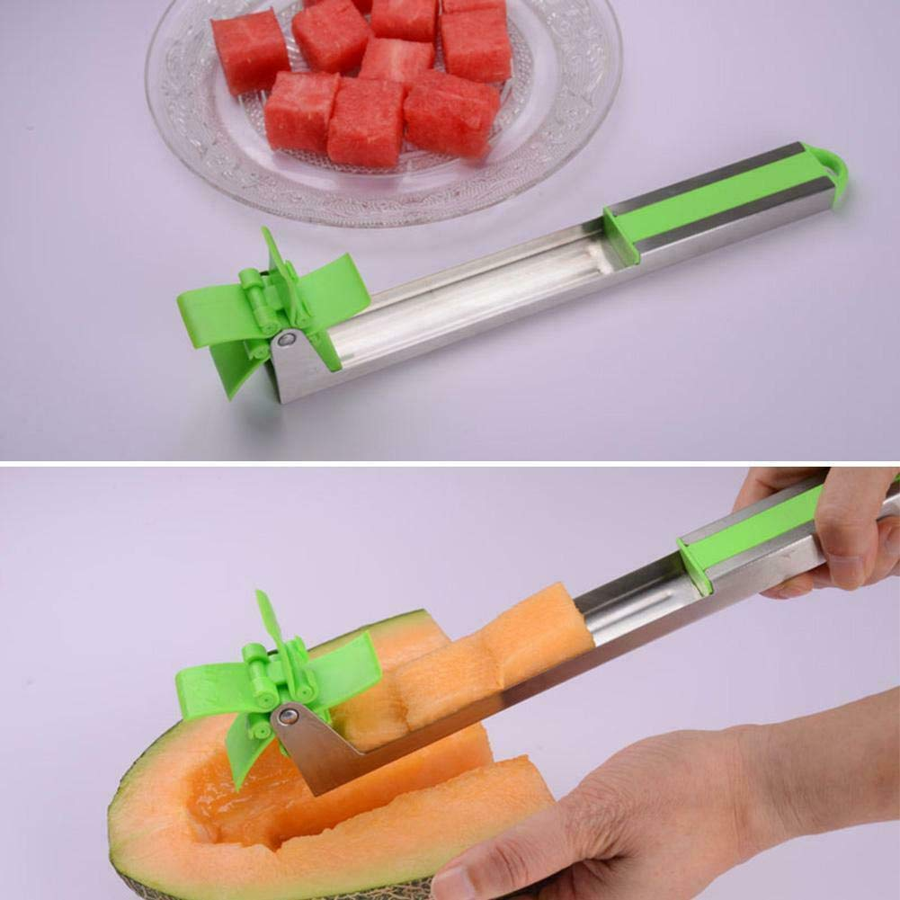 PalapolShop Knife Cutter Slicer Watermelon Stainless Steel Fruit Tool Server Tongs Windmill Melon Kitchen Cutting Tools by PalapolShop