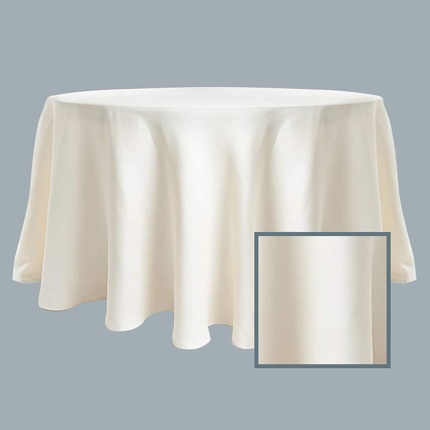 SARO LIFESTYLE Collection Poly And Linen Blend Toscana Tablecloth With No Hemstitch Border 132 Natural