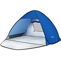 Glymnis Pop Up Beach Tent Sun Shade Shelter with Extendable Floor Carrying Bag 6 Tent Nails for Beach Camping and Hiking