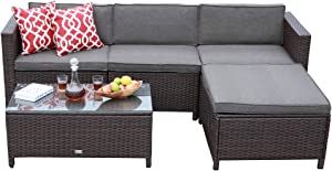 JOIVI Outdoor Patio Furniture Set, 5 Pieces Brown Wicker Rattan Sectional Patio Conversation Sofa Set with Ottoman and 2 Red Pillows, Tempered Glass Coffee Table, Taupe Cushions