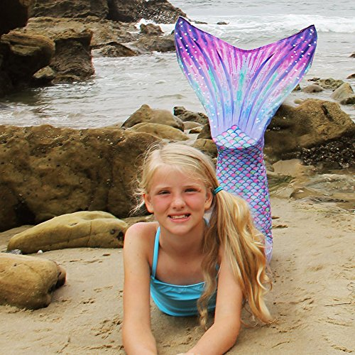 Sun Tail Mermaid Girls' Aurora Borealis Mermaid Monofin Swim Suit, Pink, Large 8/10 by Sun Tail Mermaid (Image #3)