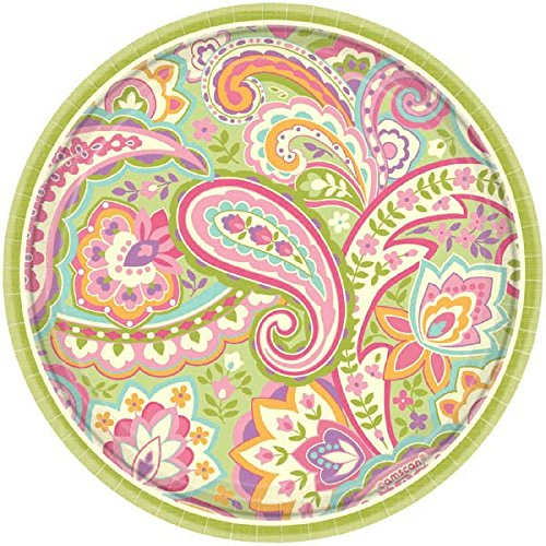 Amscan Disposable Pretty Paisley Round Dessert Paper Plates (8 Pack), 7