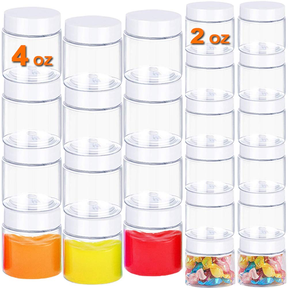 24 PACK Empty Cosmetic Containers,Round Plastic Cosmetic Jars,Refillable Empty Storage Container with Lids for Food,Candy,Beads,Slime Making,Art Crafts,Lotion(4oz+2oz)