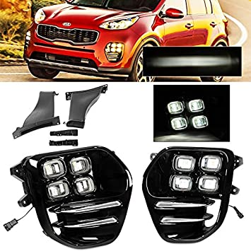 amazon com for kia sportage 17 19 4 eyes led style drl lamps Ford Econoline Fog Light Wiring