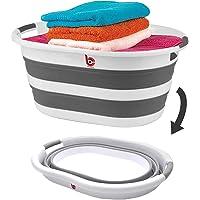 40 Litre Katlanabilir Çamaşır Sepeti - Katlanır Çamaşır Sepeti - Gri - 61x45x8 CM - PP+