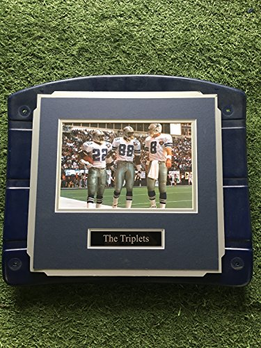 (Dallas Cowboys Texas Stadium Image On Seat Bottom framed photo of Famous Triplets! Aikman, Irvin, & Smith (The Cowboy House COA))
