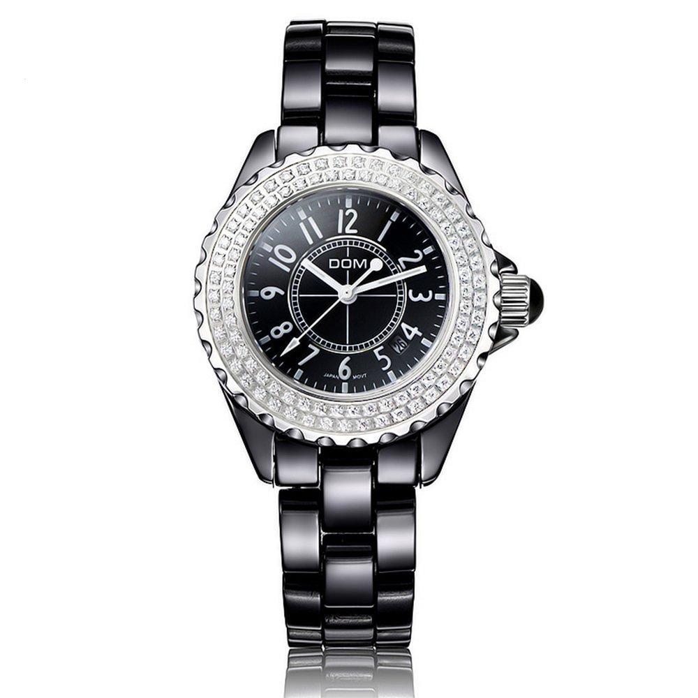 Sheli BlingブラックセラミックダイヤモンドカレンダーJapan Movement Watchesの女性、33 mm B06XCDL47Z
