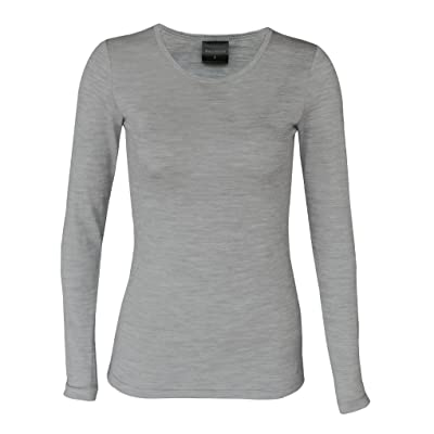 Wild South Womens Merino Wool Base Layer - Long Sleeve Crew Neck T Shirt - Lightweight Breathable Sweatproof Underwear at Women's Clothing store