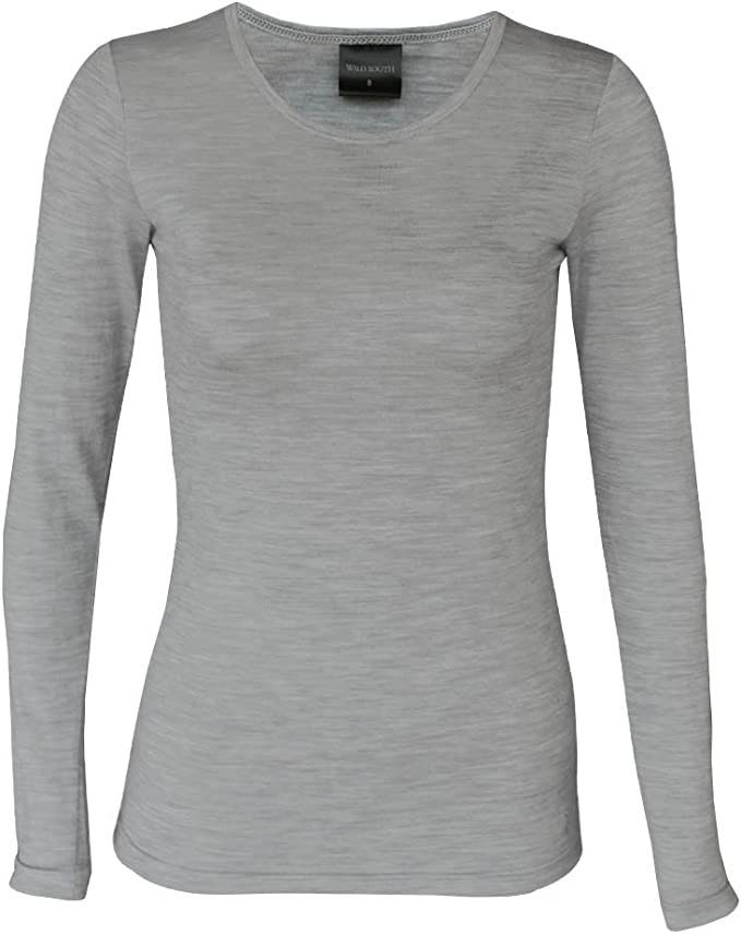 Wild South Womens Merino Wool Long Sleeve Crew T Shirt Lightweight Soft Natural Quality Durable Casual Active
