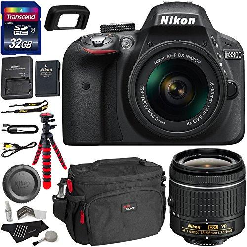 Nikon D3300 AF-P Digital SLR Camera with 18-55mm DX VR II Zoom Lens, Transcend 32GB Memory Card, Ritz Gear Camera...