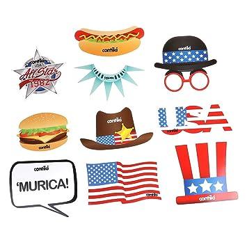 LUOEM Photo Booth del 4 de Julio Día de Independencia Estados Unidos Decoraciones para Fiesta Party Banqurte 10 Piezas: Amazon.es: Juguetes y juegos